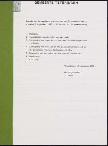 Teteringen - Notulen en bijlagen van de gemeenteraad 1978-09-05