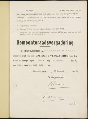 Ginneken en Bavel - Bijlagen bij de notulen van de gemeenteraad 1938-01-01