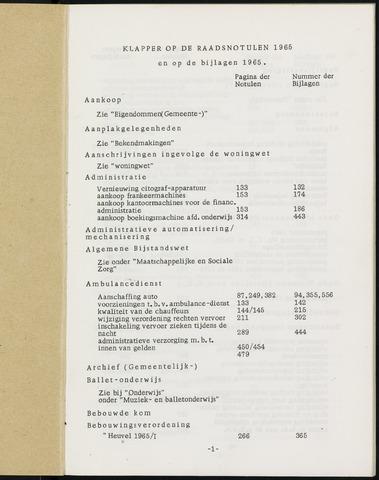 Breda - Indexen op de notulen van de gemeenteraad 1965-01-01