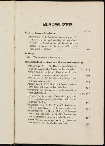 Breda - Indexen op de notulen van de gemeenteraad 1923
