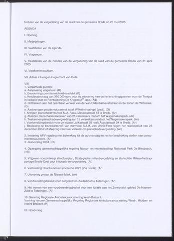 Breda - Notulen van de gemeenteraad 2005-05-26