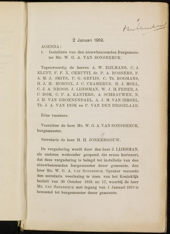 Breda - Notulen van de gemeenteraad 1919