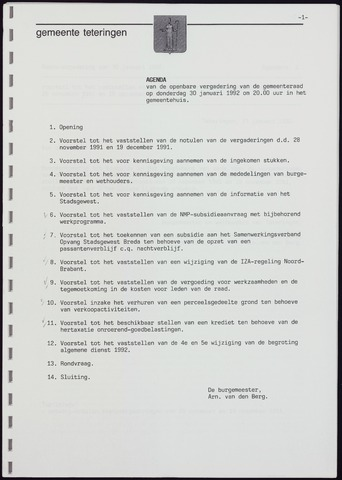 Teteringen - Notulen en bijlagen van de gemeenteraad 1992