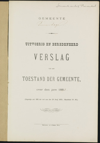 Princenhage - Verslagen van de toestand van de gemeente 1883-01-01