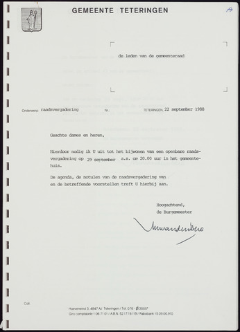 Teteringen - Notulen en bijlagen van de gemeenteraad 1988-09-29