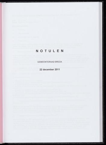 Breda - Notulen van de gemeenteraad 2011-12-22