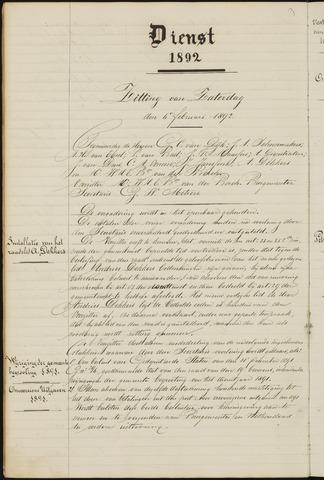 Ginneken en Bavel - Notulen van de gemeenteraad 1892-01-01