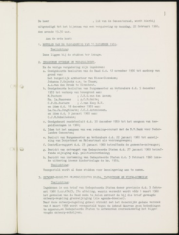 Nieuw-Ginneken - Notulen en bijlagen van de gemeenteraad 1960