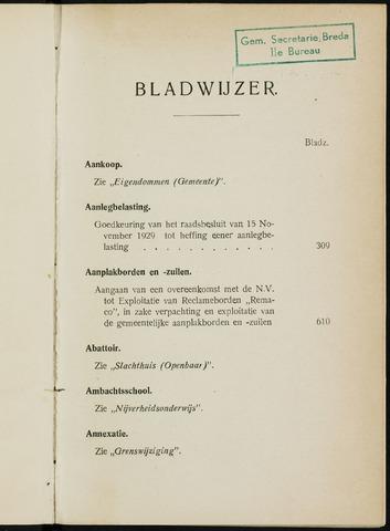 Breda - Indexen op de notulen van de gemeenteraad 1930-01-01