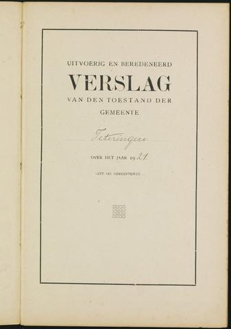 Teteringen - Verslagen van de toestand van de gemeente 1921-01-01