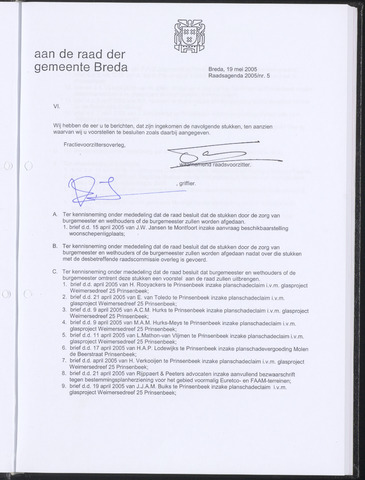 Breda - Bijlagen bij de notulen van de gemeenteraad 2005-05-19