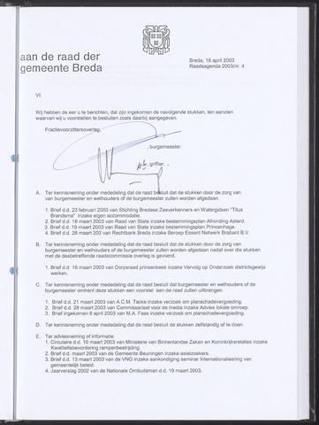 Breda - Bijlagen bij de notulen van de gemeenteraad 2003-04-16