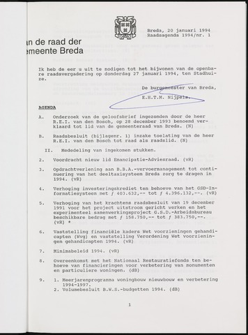 Breda - Bijlagen bij de notulen van de gemeenteraad 1994