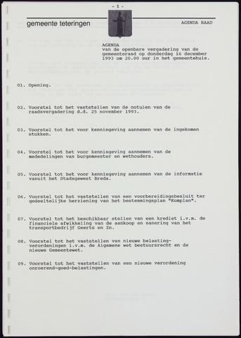 Teteringen - Notulen en bijlagen van de gemeenteraad 1993-12-16