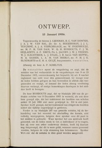 Breda - Notulen van de gemeenteraad 1906-01-01
