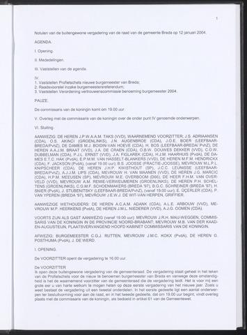 Breda - Notulen van de gemeenteraad 2004-01-12