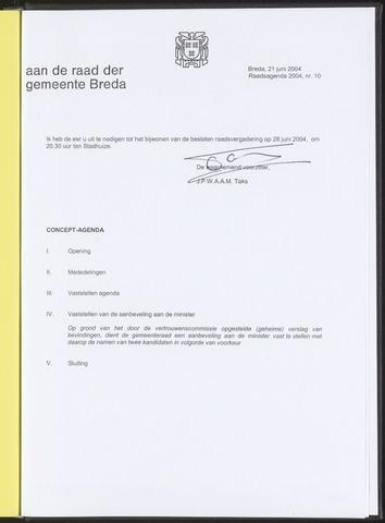 Breda - Bijlagen bij de notulen van de gemeenteraad 2004-06-21
