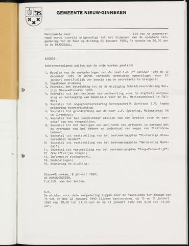 Nieuw-Ginneken - Notulen en bijlagen van de gemeenteraad 1990