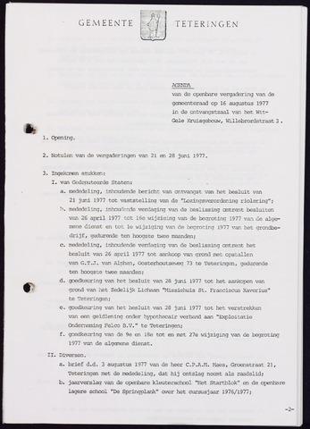 Teteringen - Notulen en bijlagen van de gemeenteraad 1977-08-16