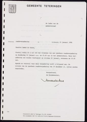 Teteringen - Notulen en bijlagen van de gemeenteraad 1986