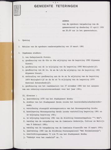 Teteringen - Notulen en bijlagen van de gemeenteraad 1981-04-23