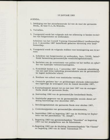 Breda - Notulen van de gemeenteraad 1968-01-01