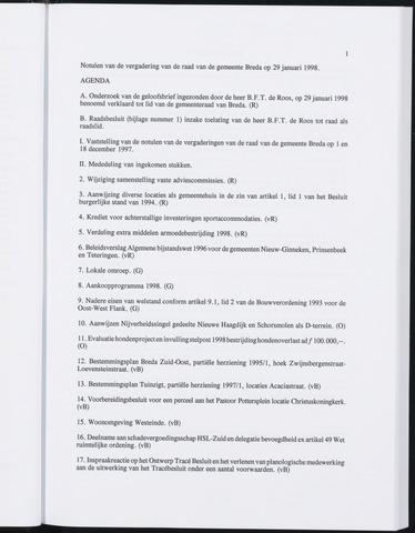 Breda - Notulen van de gemeenteraad 1998-01-01
