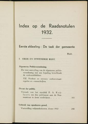 Breda - Indexen op de notulen van de gemeenteraad 1932-01-01