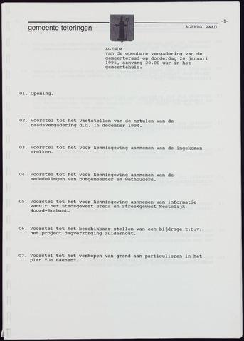 Teteringen - Notulen en bijlagen van de gemeenteraad 1995-01-26