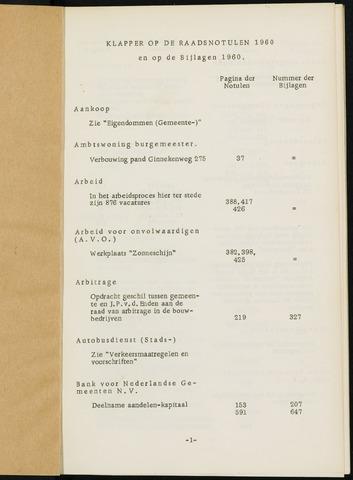 Breda - Indexen op de notulen van de gemeenteraad 1960
