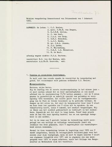 Prinsenbeek - Notulen van de gemeenteraad 1972