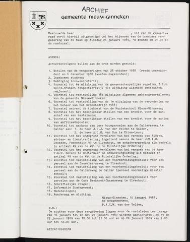 Nieuw-Ginneken - Notulen en bijlagen van de gemeenteraad 1989-01-01