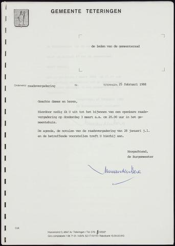 Teteringen - Notulen en bijlagen van de gemeenteraad 1988-03-03