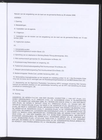 Breda - Notulen van de gemeenteraad 2006-10-26