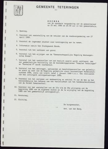 Teteringen - Notulen en bijlagen van de gemeenteraad 1989-05-25