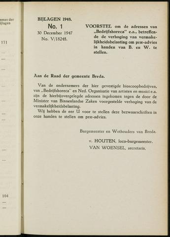 Breda - Bijlagen bij de notulen van de gemeenteraad 1948-01-01