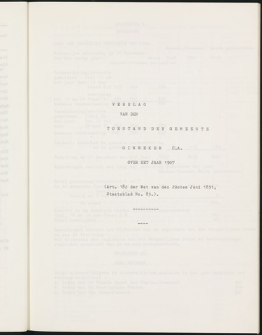 Ginneken en Bavel - Verslagen van de toestand van de gemeente 1907
