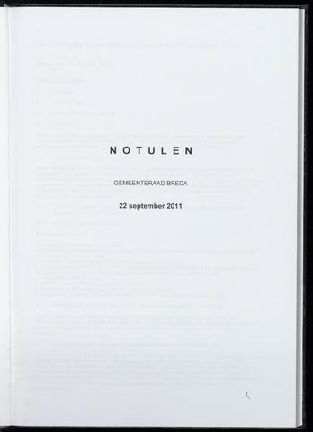 Breda - Notulen van de gemeenteraad 2011-09-22
