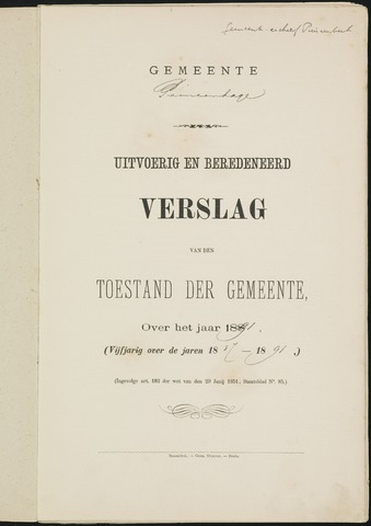 Princenhage - Verslagen van de toestand van de gemeente 1891-01-01