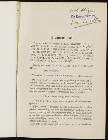 Breda - Notulen van de gemeenteraad 1908