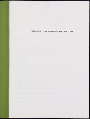 Teteringen - Notulen en bijlagen van de gemeenteraad 1978-04-04