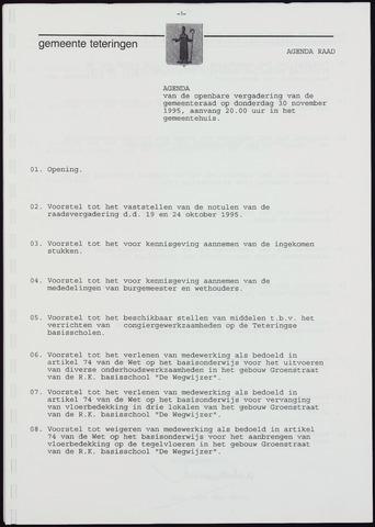 Teteringen - Notulen en bijlagen van de gemeenteraad 1995-11-30