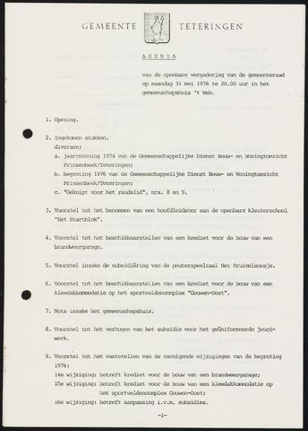 Teteringen - Notulen en bijlagen van de gemeenteraad 1976-05-31
