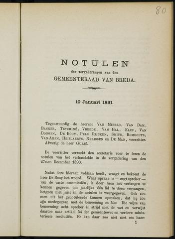 Breda - Notulen van de gemeenteraad 1891
