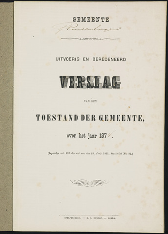 Princenhage - Verslagen van de toestand van de gemeente 1874
