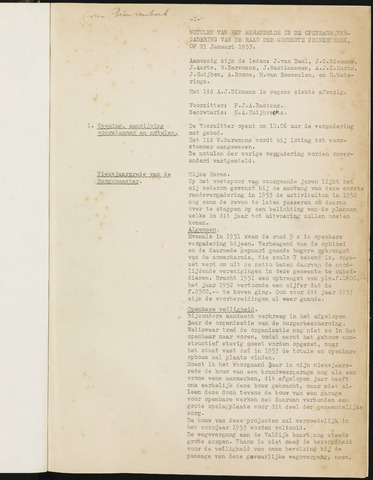 Prinsenbeek - Notulen van de gemeenteraad 1953