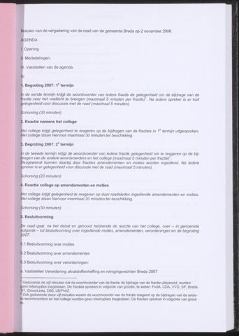 Breda - Notulen van de gemeenteraad 2006-11-02