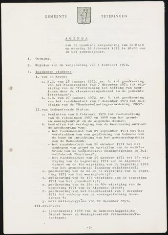 Teteringen - Notulen en bijlagen van de gemeenteraad 1972-02-28