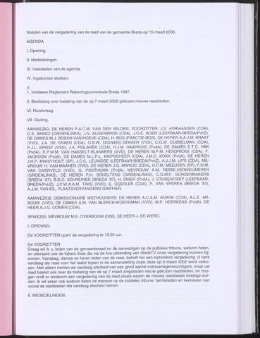 Breda - Notulen van de gemeenteraad 2006-03-15