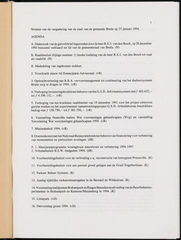 Breda - Notulen van de gemeenteraad 1994-01-01
